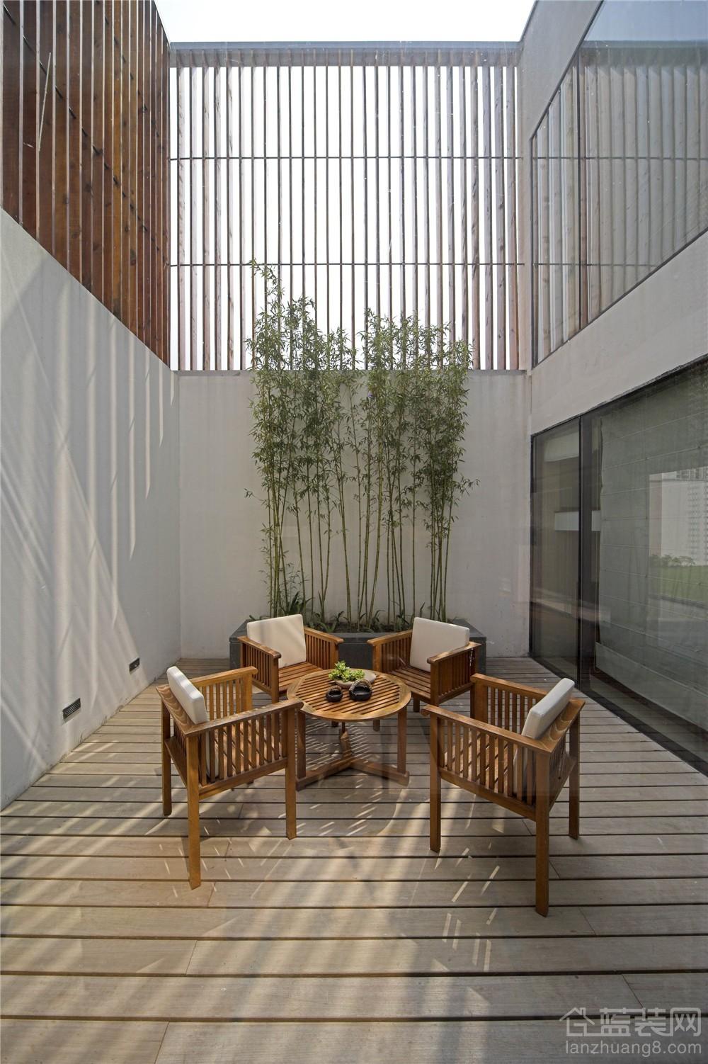 简约中式风格别墅入户花园装修效果图