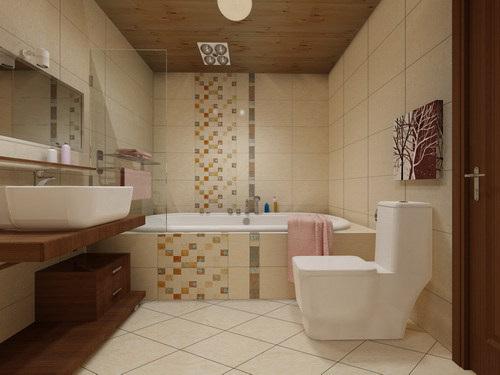 厕所欧式腰线瓷砖效果图