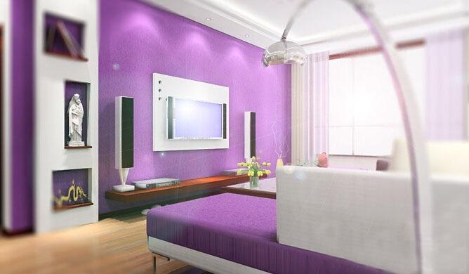 现代紫色温馨时尚卧室图片大全